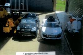 Excavator, Mercedes, Audi & Scooter